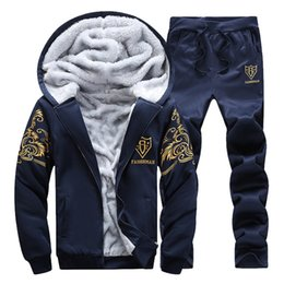 $enCountryForm.capitalKeyWord Australia - Men Tracksuits For Winter Cotton New Set Thicken Fleece Hoodies + Pants Suit Sweatshirt Sportswear Sets Male Hoodie Sporting
