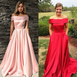 $enCountryForm.capitalKeyWord Australia - Shiny Red Prom Dresses Long Off The Shoulders Silk Satin Full Length Cheap 2019 Formal Evening Gowns With Pockets New Hot prom dress