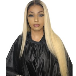 Long Blonde Straight Human Hair UK - 1B 613 blonde Lace Front Wig Straight Brazilian Remy Full Lace Human Hair Ombre T1B 613 Lace Frontal Wigs For Women