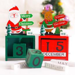 Gift Craft Christmas Ornament Australia - Wooden Desk Calendar Small Mini Xmas Christmas Snowman Reindeer Santa Craft Board Decoration Home Office Ornament Gift