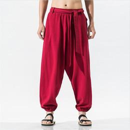 Male Full Belt Australia - 2019 Summer Autumn Japan Style Men Pants Casual Loose Wide Leg Pants Belt Solid Pocket Male Trousers Large Size M-7XL
