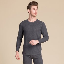 a1a43a58a52 Silk Velvet Round Collar Thermal Underwear Suit For Men The inner fabric  100% Silk Plus Velvet And Thick Long Johns set