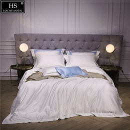 $enCountryForm.capitalKeyWord Australia - 140S Egyptian White Luxury Modern Bedding Set 4Pcs King Queen Bed Sheet Duvet cover Pillow shams Simple Bright Hollow Solid Color