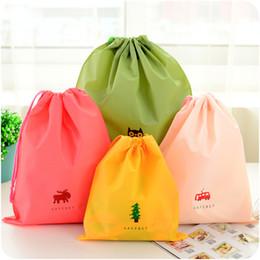 $enCountryForm.capitalKeyWord Australia - 12 Designs PE Rope Pulling Backpack Bag Handbag Shopping Tote Shoulder Bags Pocket Drawstring Waterproof Cartoon Clothes Storage Bag