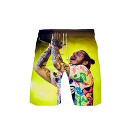 China HIP HOP Clothing Men's 3D Post Malone templar 3DBoard Shorts Trunks Quick Dry Beach Shorts Men Hip Hop Short Pants Beach Wear supplier post clothing suppliers
