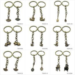 Antique Metal Rabbit Australia - Metal Antique Bronze Keychain Keyring Keytag Key Chain Ring Ballet Skirt Dress Duck Quack Spoon Shovel Rabbit Hare Monkey Worm S