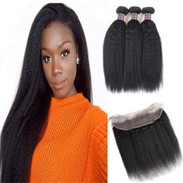 yaki human hair lace closure 2019 - Brazilian Yaki Straight 3 4 Bundles with Lace Frontal Peruvian Body Wave Loose Deep Human Hair Bundles with Closure Stra