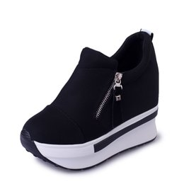 Wholesale Wedges Women Boots New Platform Shoes Woman Creepers Slip On Ankle Boots Fashion Flats Casual Women Shoes