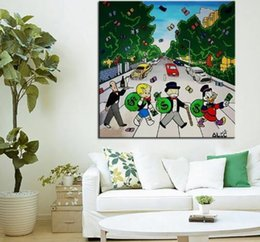 beatles painting NZ - Alec Monopoly Banksy Oil painting On Canvas Abstract Abbey Road Beatles Wall Art Handcrafts  HD Print 191009