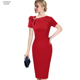 Wholesale office cocktail dresses resale online – Womens Autumn Elegant Dress Pleated Bow Neck Slim Work Office Business Cocktail Party Sheath Asymmetric