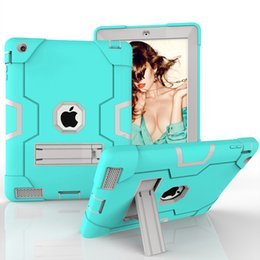 Discount apple print screen - Drop resistance 3 in 1 Protection Silicone+PC Hard Back Cover Kids Safe Hybrid Case for Apple iPad 2 iPad 3 iPad 4 Table