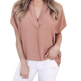 Hot Office Shirts Australia - Hot Summer Autumn Chiffon Blouse Women Sexy V Neck Batwing Sleeve Ladies Tops Tees Soild Casual Office Shirt Blusa Plus Size XL