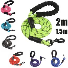 grip belt NZ - Dog Rope Reflective Leashes With Comfortable grip Walking Pet Dog Collar strong Traction Harness Mountain Climbing Nylon Dog Lead Belt
