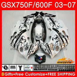 gsxf fairings UK - Body For SUZUKI KATANA GSXF750 GSX600F GSX750F Black white GSXF600 3HC.73 GSXF 750 600 03 04 05 06 07 2003 2004 2005 2006 2007 Fairing kit
