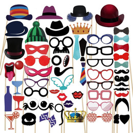 $enCountryForm.capitalKeyWord NZ - Cute 58pcs lot Photo Booth Props Party Masks Hat Mustache Lip photobooth props Wedding Party Decoration Birthday Party Favor 2019 wedding