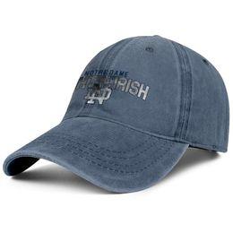 Fighting Australia - Notre Dame Fighting Irish football logo Core Smoke blue mens and womens Denim hats water scrubbing fishing hat styles fitted visor Flat Bill