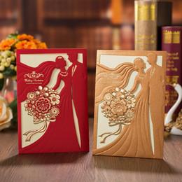 Custom wedding invitations online shopping - 100pcs Laser Cut Wedding Invitations Card Flower Bride and Groom Greeting Card Custom Envelopes Wedding Party Favors Decoration