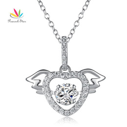 $enCountryForm.capitalKeyWord Australia - Heart Angel Wing Dancing Stone Pendant Necklace Solid 925 Sterling Silver Good Wedding Bridesmaid Gift CF8081 Dropshipping Service Available