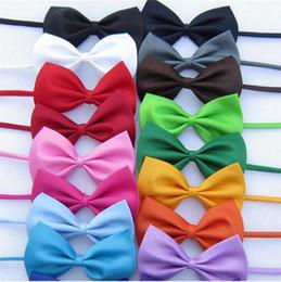 $enCountryForm.capitalKeyWord Australia - kid bowtie pet dog neckwear cheap bow tie children solid color imitation silk bow ties fashion bowknot girl accessories 20pcs lot