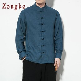 japanese styled jackets Canada - Zongke Chinese Style Cotton Linen Jacket Men Japanese Streetwear Bomber Jacket Men Clothes Hip Hop Coat XXXL 2020 New