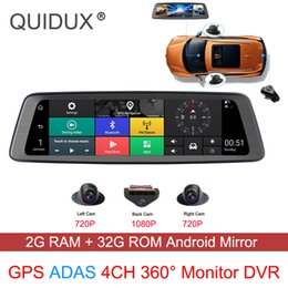 wifi dash cams Australia - 4 Channel Cameras Car DVR 360°Panoramic 10 inch Full Screen 4G Touch IPS Special Dash Cam RearView Reversing Mirror GPS Wifi