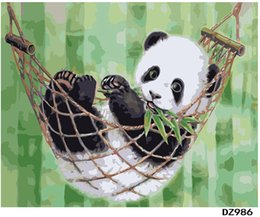 "Discount swing painting - Adult Hand Painted Kits Paint Oil Paint DIY Painting By Numbers-Panda swing 16""x20"""