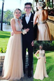 05a350ba9ec0 V Neck Halter Gown Sash Australia - Champagne Tulle A Line Long Prom Dresses  with Beaded