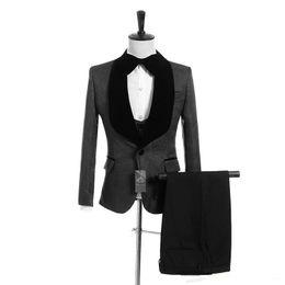 Cheap Wool Ties UK - Dark Grey Jacquard Wedding Tuxedos Slim Fit Suits For Men Groomsmen Suit Three Pieces Cheap Prom Formal Suits (Jacket+Pants+Vest+Tie) 033