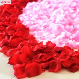 White Rose Petals Wedding Australia - 100Pcs Simulation Rose Petals Confetti Festival Party Flower Wedding Decoration DIY Engagement Wedding Party Supplies 7Z
