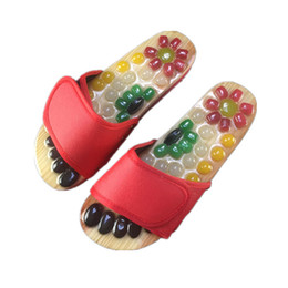 Chinese red slippers online shopping - Massage Shoes Mens Slides Cobblestone Accupressure Foot Indoor Chinese Pedicure Acupoint Healthcare Flat Slippers