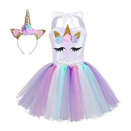 f65aba9825d4 Kids Girls Cartoon 3d Flowers Shiny Sequins Novelty Party Tutu Dress With  Hair Hoop Halloween Cosplay Costumes J190505