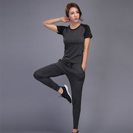 Reflective T Shirts NZ - Sport Yoga Set Quick Dry Women Trucksuit T Shirt + Pants Compression Running Fitness Workout Sportswear Two Piece Set #249348