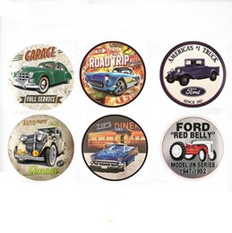 antique car paintings 2019 - 30*30cm Round Metal Tin Signs Cars Route 66 Vintage Wall Art Retro TIN SIGN Wall Metal Painting ART Bar Man Cave Pub Res