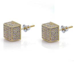 Discount ice screws - New Hip Hop New Custom Iced Out Gold Color Micro Paved Zircon Square Stud Earring with Screw Back Bling Jewelry For Men