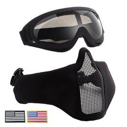 Discount metal mesh half face mask - Tactical Masks Breathable Half Metal Steel V10 Mesh Face Mask And UV400 Goggles+Armband Set For Hunting Paintball