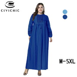 90cdc9b52ad CIVI CHIC Plus Size Loose Jurk Dames Large Swing Women Gown Spring Long  Robe Autumn Maxi Denim Dress Embroidery Vestidos DRS306