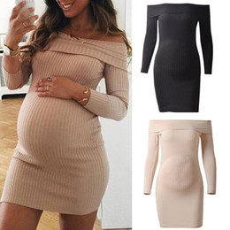Wholesale summer women boutique resale online – Women Solid Maternity Dress Off Shoulder Long Sleeve Pregnant Dress Boutique Womens Summer Dresses Ladies Dresses