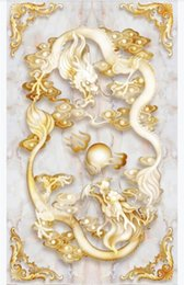 $enCountryForm.capitalKeyWord Australia - Custom 3D self-adhesive waterproof floor painting wallpaper Chinese style two dragon play beads embossed jade carving 3D floor tile painting