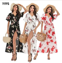 $enCountryForm.capitalKeyWord Australia - Women Floral Chiffon Dress Summer Short Sleeved V-neck Split Up Long Boho Maxi Dresses