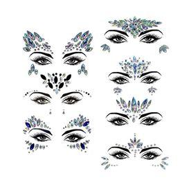 $enCountryForm.capitalKeyWord UK - Acrylic Diamond Sticker Rhinestone Eyebrow Sticker Face Colorful Diamond Face For Festival Parties