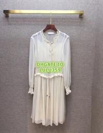 $enCountryForm.capitalKeyWord NZ - Women 100% Silk Shirt Dress Brief Cowl Neck Drawstring Dress+Sling Dress The High Custom Brand Runway Knee-Length Skirt Pleated Dress