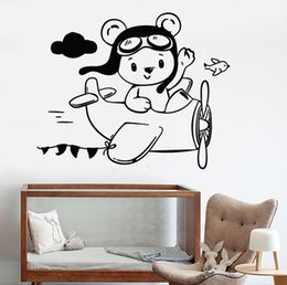 $enCountryForm.capitalKeyWord Australia - Lovely Bear Aviator Plane Wall Stickers Vinyl Wall Decal Decor Little Children's Room Wall Sticker Wallpaper