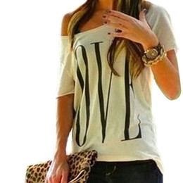 $enCountryForm.capitalKeyWord Australia - 2019 Summer Women Loose One Shoulder Tops Korean Fashion Design Letter Casual Beach T-shirt Short Sleeve Crew Neck Plus Size