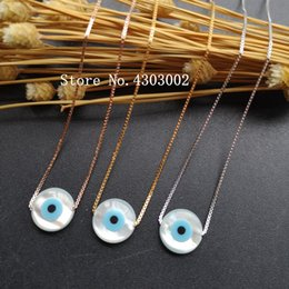 Blue eye pendant online shopping - promotion Sterling Silver Round Pearl Shell Necklace Adjustable Round Blue Evil Eye MOP Shell Pendant for Gift