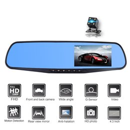 Camera Mirror Display Australia - 4.3 inches car DVR mirror vehicle video camera auto registrator camcorder FHD 1080P 2Ch front 170° rear 120° wide view angle G-sensor