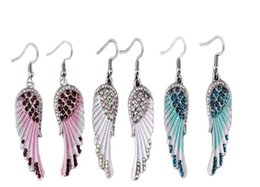 wholesale biker earrings NZ - NEW Angel wings dangle earrings Antique Crystal wings earrings Angel Wings Earring For Women Girls Biker Bling Jewelry Gift