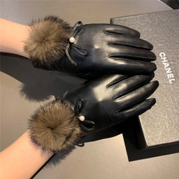 plain white screen UK - New Winter Plush Balls Design Comfortable Gloves Women Soft Wrist Mittens for Women Female Screen Sense Gloves