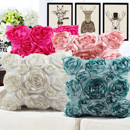 Discount decorative european pillow covers - European Style 3D Roses Embroidered Cushion Cover Pillowcase Wedding Home Decorative Sofa Pillows cojines decorativos pa