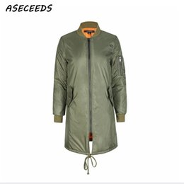 army green sleeveless jacket NZ - Winter long jackets and coats 2019 spring female coat casual Army Green bomber jacket women basic jackets padded zipper outwear Y190830