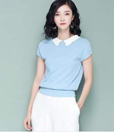 $enCountryForm.capitalKeyWord Australia - 2019 summer new Korean version of the t-shirt short-sleeved ice silk sweater women's sweater lapel repair shirt wholesale 002